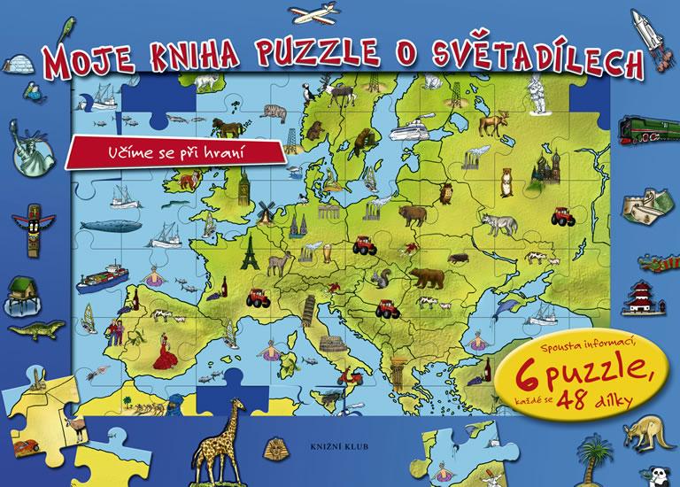 Moje kniha puzzle o světadílech - Učíme se při hraní