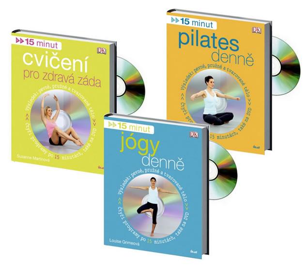 Komplet 15 minut cvičení pro zdravá záda + DVD + 15 minut jógy denně + DVD + 15 minut pilates denně + DVD