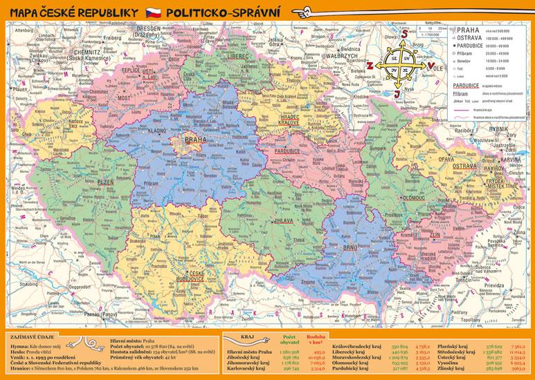 MAPA ČESKÉ REPUBLIKY POLITICKÁ/ZEMĚPISNÁ