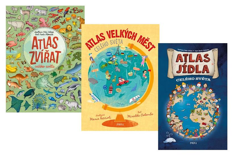 Komplet Atlas zvířat celého světa + Atlas jídla celého světa + Atlas velkých měst celého světa