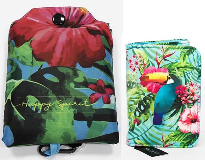 Komplet Peněženka střední: Tropical + Nákupní taška skládací: Tropical