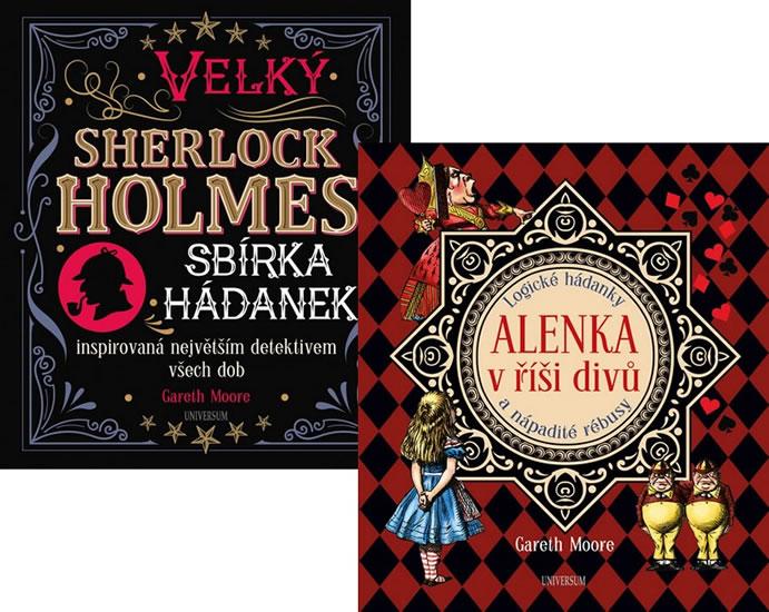 Komplet Velký Sherlock Holmes: Sbírka hádanek inspirovaná největší detektivem všech dob + Alenka v říši divů: Logické hádanky a nápadité rébusy