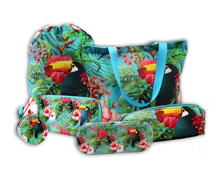 Komplet Pouzdro na brýle: Tropical + Plátěná taška: Tropical + Zrcátko kompaktní: Tropical + Penál textilní: Tropical + Peněženka velká: Tropical + Stahovací pytel: Tropical