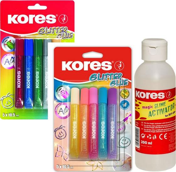 Komplet Kores Aktivátor na výrobu slizu 200 ml + Kores Glitter glue pastel 5 x 10,5 ml + Kores Glitter glue 5 x 10,5 ml