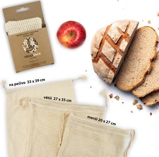 Komplet Sáček na potraviny síťovaný větší + Sáček na potraviny síťovaný menší + Bavlněný sáček na pečivo