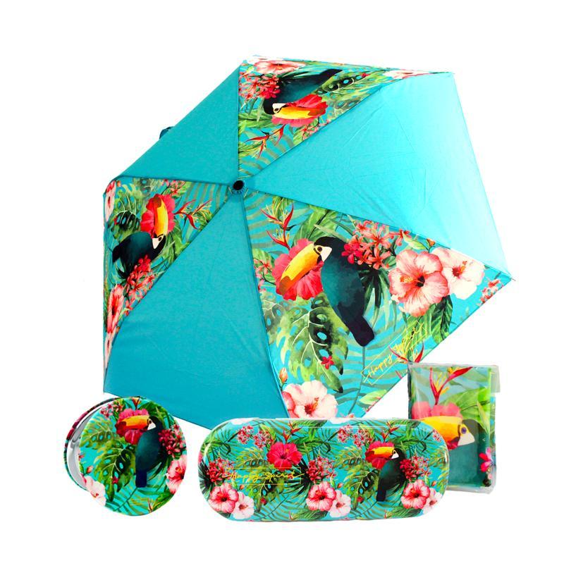 Komplet Sada Tropical - Mikrohadřík a pouzdro na brýle + Zrcátko kompaktní + Deštník vystřelovací skládací