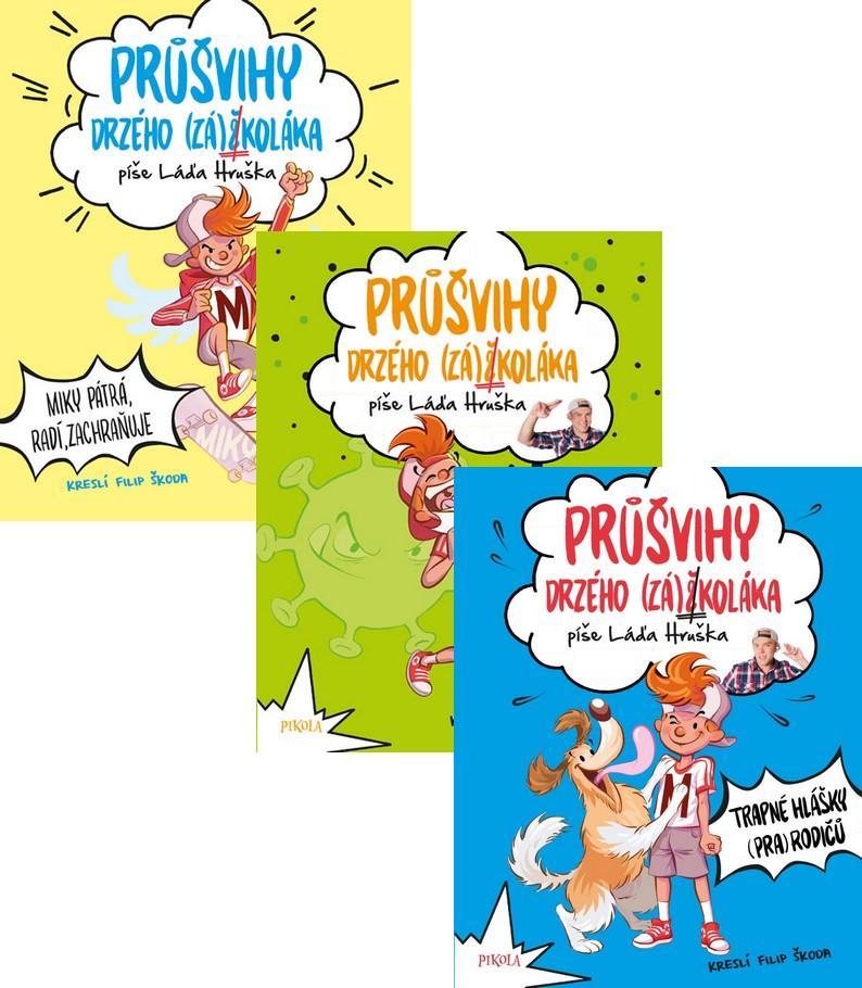 Komplet Průšvihy drzého záškoláka: Miky pátrá, radí, zachraňuje + Prázdniny skoro na rok + Trapné hlášky (pra)rodičů