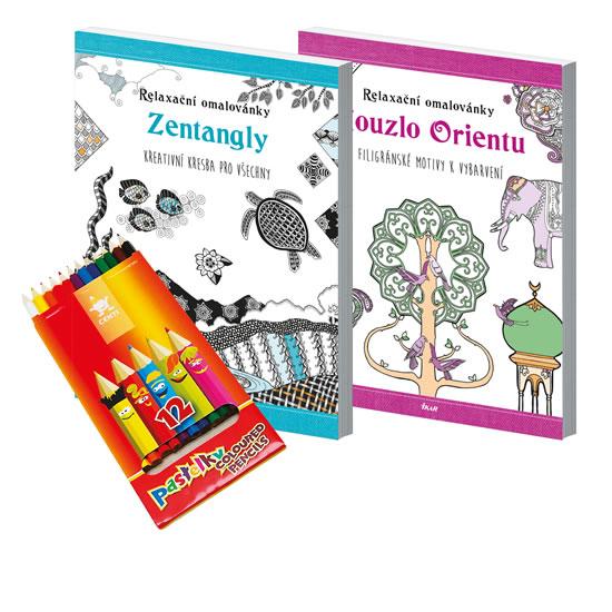 Relaxační omalovánky s pastelkami-set (Zentangly a Kouzlo Orientu)