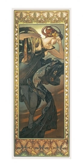 Mucha Evening Star, pohled dl.