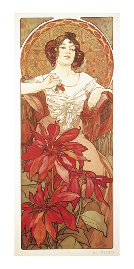 POHLED ALFONS MUCHA — RUBY, DLOUHÝ