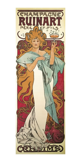 POHLED ALFONS MUCHA — CHAMPAGNE RUINART,