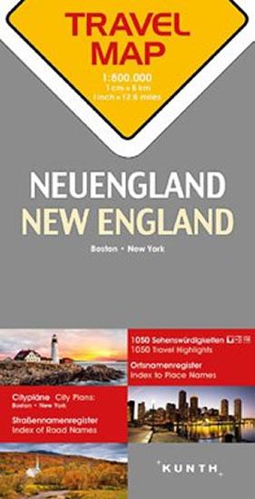 NEW ENGLAND  1:800T  TRAVELMAP KUNTH