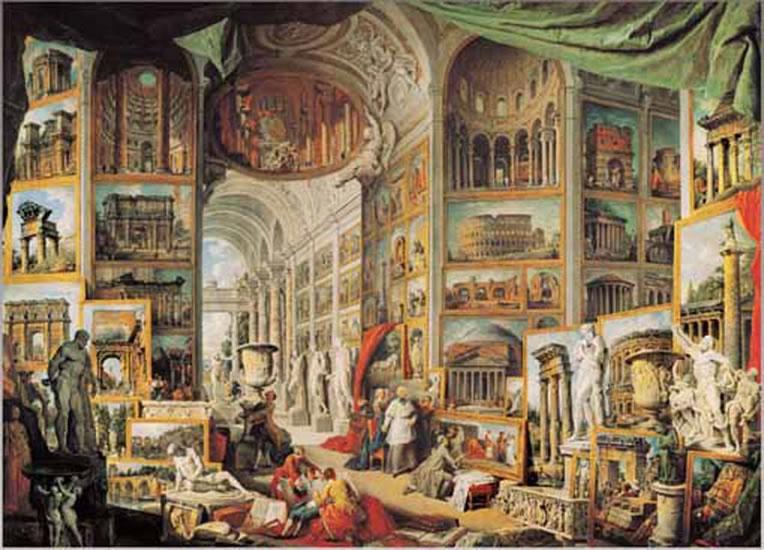 Pannini: Galerie obrazů s pohledy na Řím - Puzzle/1000 dílků