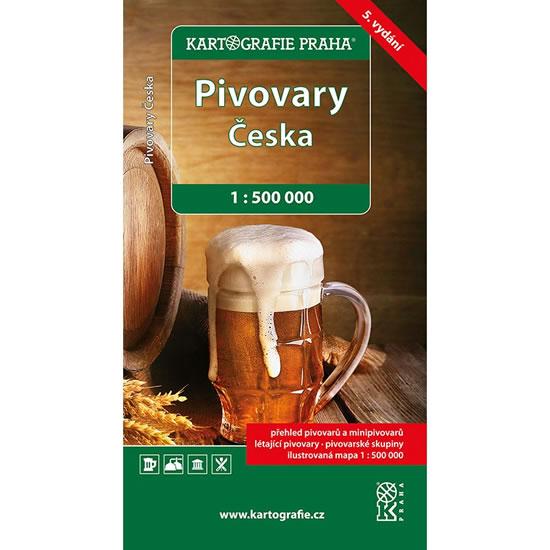 PIVOVARY ČESKA PŘEHLED S MAPOU 1:500 000