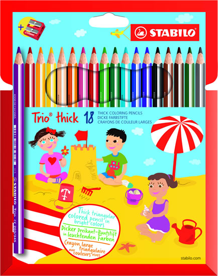 STABILO Trio thick - sada 18 ks s ořezávátkem
