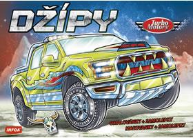 Turbo motory Džípy - omalovánky a samolepky