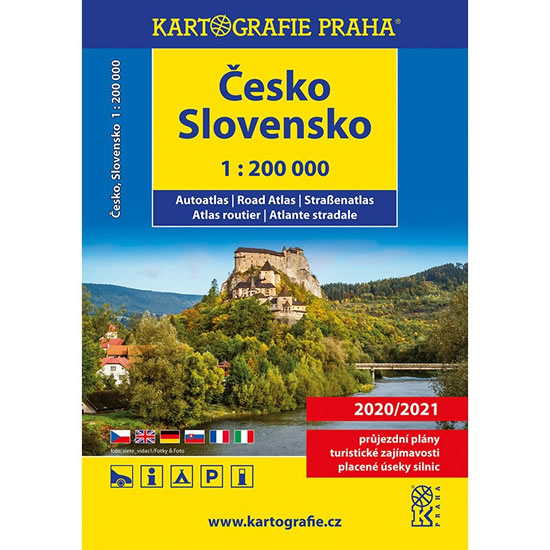 ČESKO SLOVENSKO AUTOATLAS 1:200 000 2020/2021