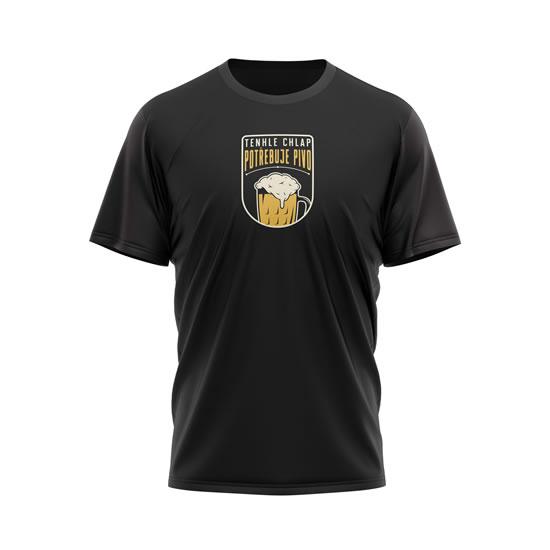 Tričko Tenhle chlap potřebuje pivo - pánské M černé - Na sebe