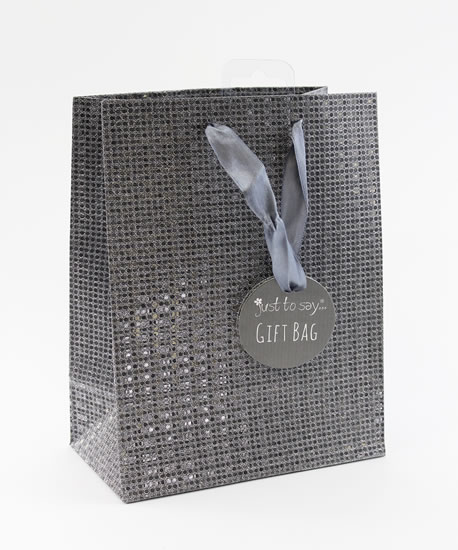 Taška medium Glitter šedá - Dárkové tašky