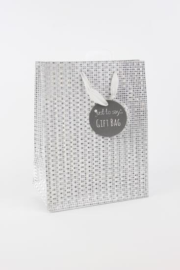 Taška medium Glitter stříbrná - Dárkové tašky