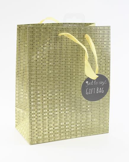 Taška medium Glitter zlatá - Dárkové tašky
