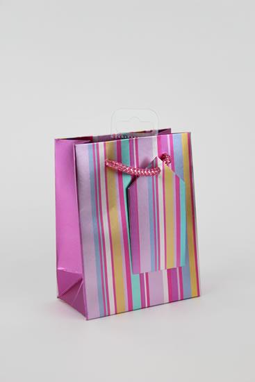 Taška medium Proužky růžová - Dárkové tašky