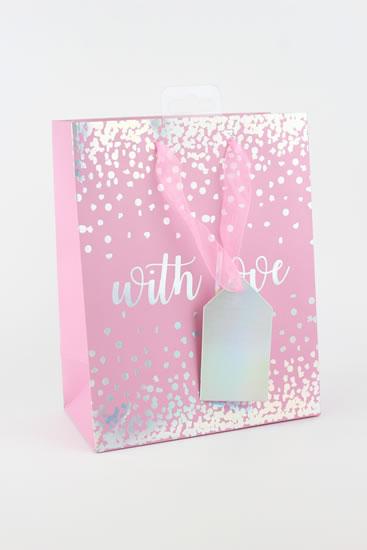 Taška medium Puntíky růžová - Dárkové tašky