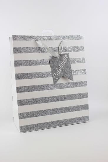 Taška large Stříbrné proužky - Dárkové tašky