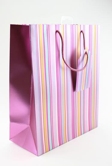 Taška large Proužky růžová - Dárkové tašky