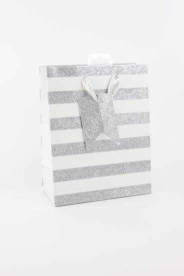Taška medium Stříbrné proužky - Dárkové tašky