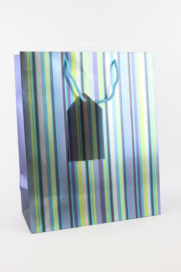 Taška lahev Proužky modrá - Dárkové tašky