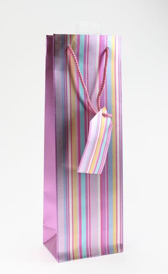 Taška lahev Proužky růžová - Dárkové tašky