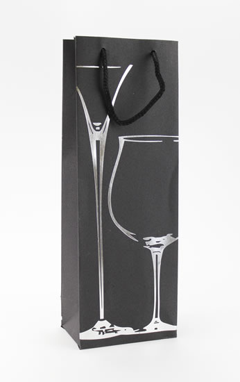 Taška lahev Černá deluxe 3 - stříb.dekor - Dárkové tašky