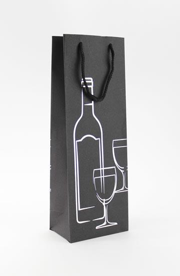Taška lahev Černá deluxe 2 - stříb.dekor - Dárkové tašky