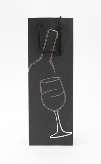 Taška lahev Černá deluxe 1 - stříb.dekor - Dárkové tašky