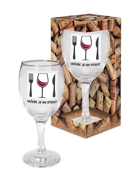 Sklenička na víno Večeře je na stole! - Já miluju víno