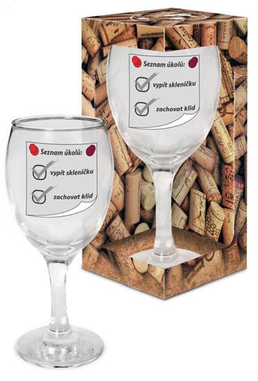 Sklenička na víno Seznam úkolů - Já miluju víno