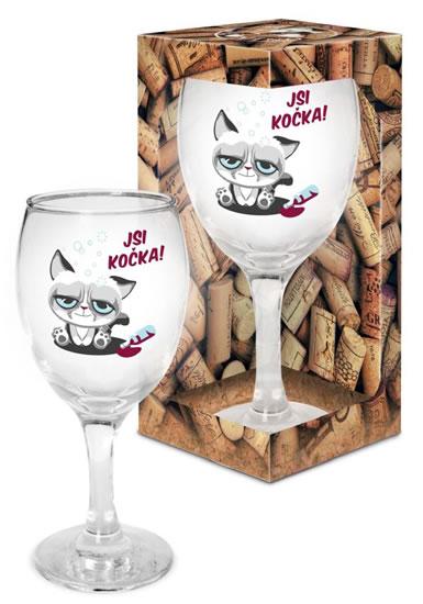 Sklenička na víno Jsi kočka! - Já miluju víno