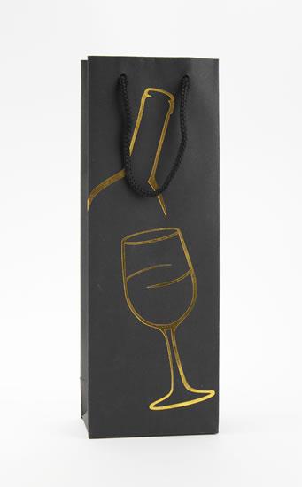 Taška lahev Černá deluxe 1 - zlat.dekor - Dárkové tašky