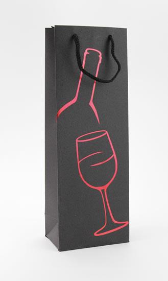 Taška lahev Černá deluxe 1 - červ.dekor - Dárkové tašky
