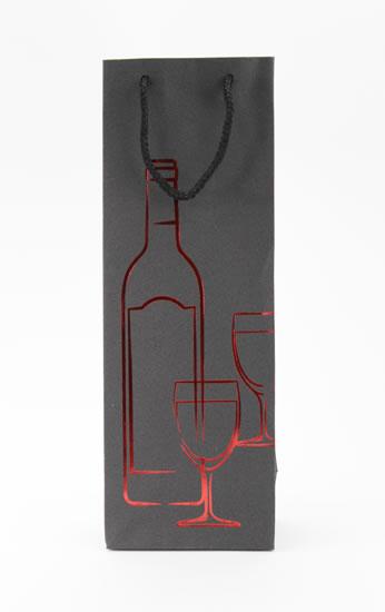 Taška lahev Černá deluxe 2 - červ.dekor  - Dárkové tašky
