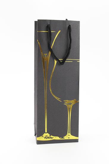 Taška lahev Černá deluxe 3 - zlat.dekor - Dárkové tašky
