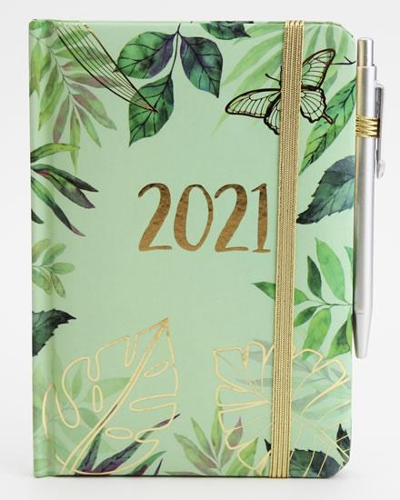 Diář 2021 smart: Zelené listy - Designové diáře 2021