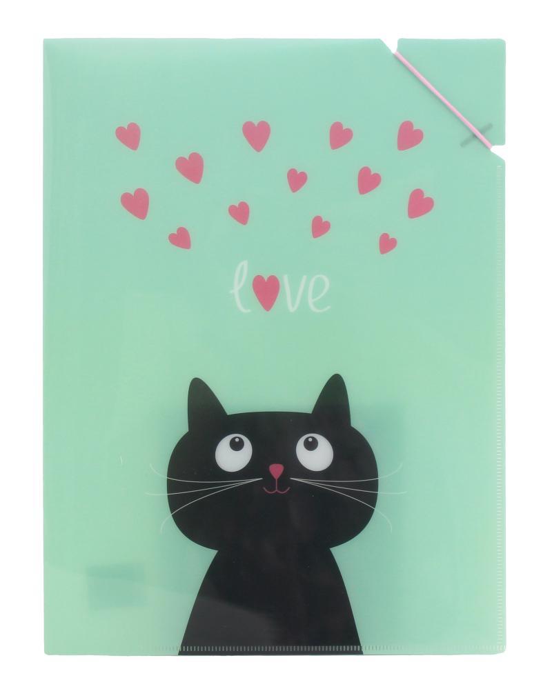 Desky A4 s gumičkou  Kočka se srdíčky