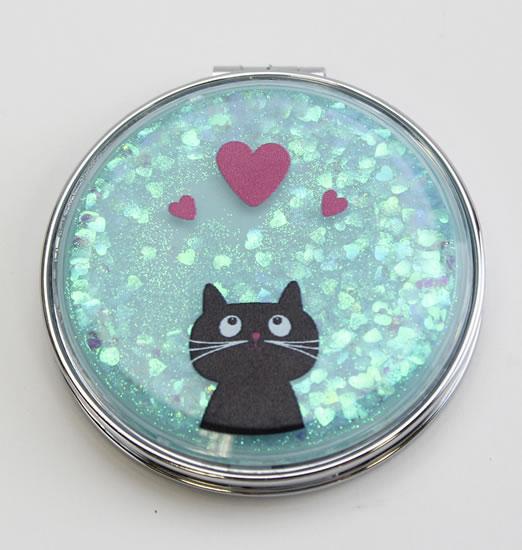 Zrcátko glitrové Kočka se srdíčky - Dárková zrcátka