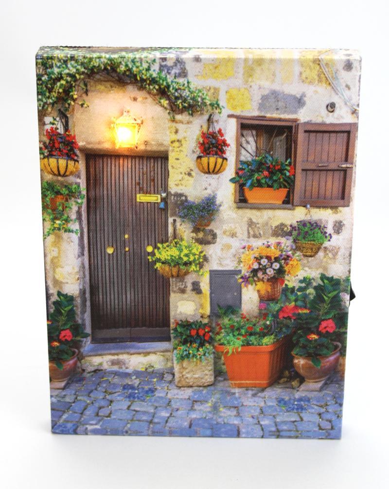 Obrázek se světýlky Dveře s květinami