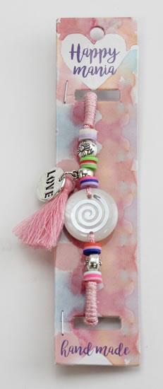 Náramek Ornament růžová šňůrka-Happy Mania