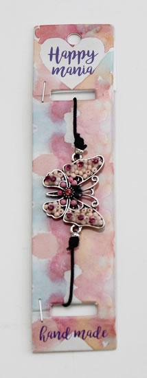 Náramek Motýl starorůžové korálky-Happy Mania