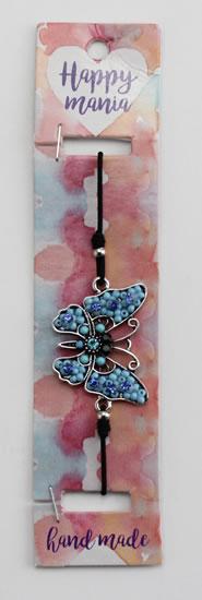 Náramek Motýl modré korálky-Happy Mania