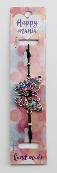 Náramek Motýl růžové korálky-Happy Mania